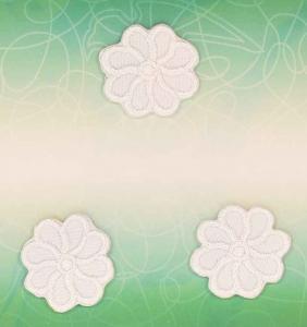 Applikation - Blommor vit