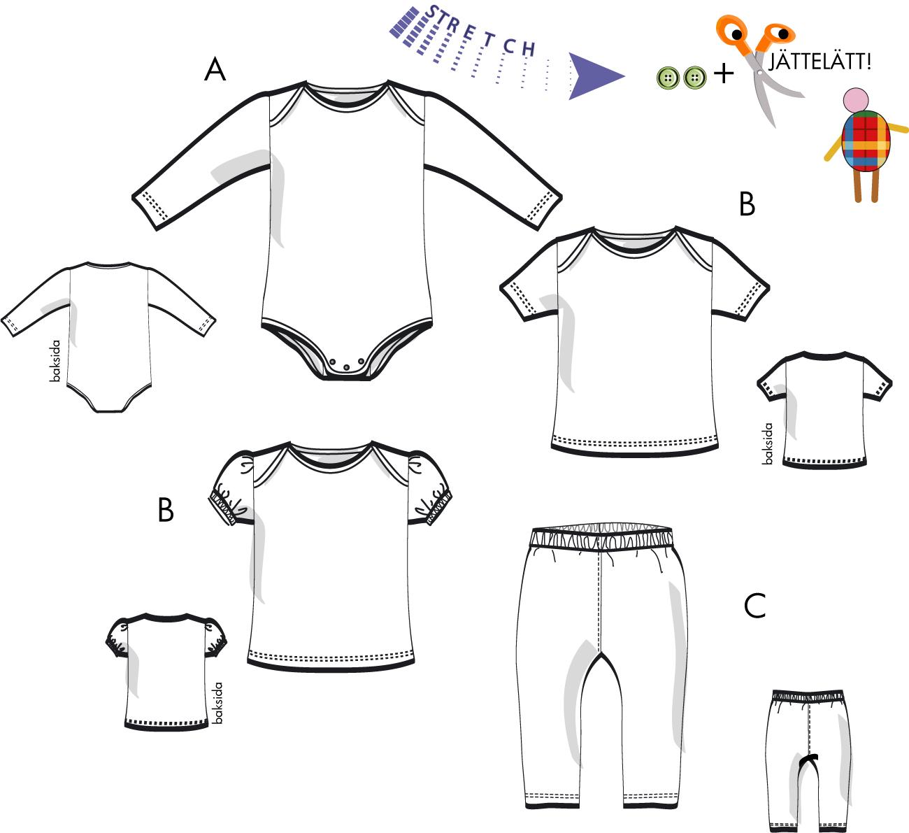 Babyplagg, Body, tröja eller leggings för trikå