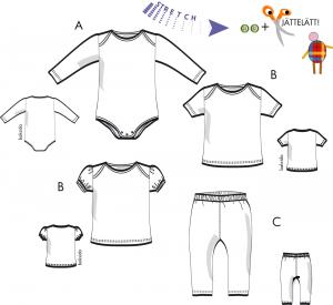 Baby- Body, tröja eller leggings för trikå
