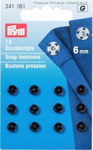 Tryckknappar 6 mm - Svart