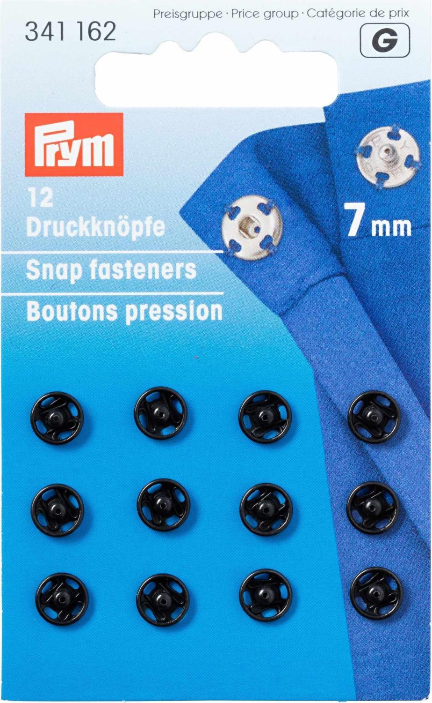 Tryckknappar 7 mm - Svart