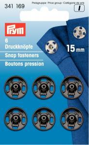 Tryckknappar 15 mm - Svart