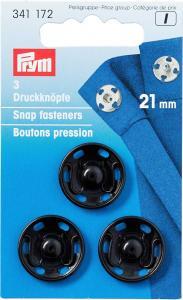 Tryckknappar 21 mm - Svart