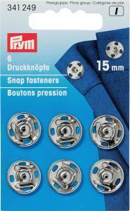 Tryckknappar 15 mm - Silver