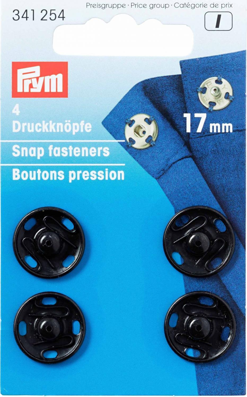 Tryckknappar 17 mm - Svart