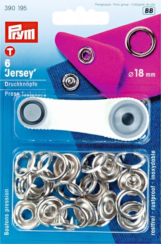 Tryckknappar Jersey 18 mm - Silver