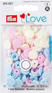 Prym colorsnaps Vit-Ljusblå-Rosa