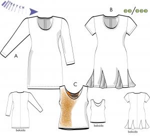 Klänning och linne för stretchtrikå