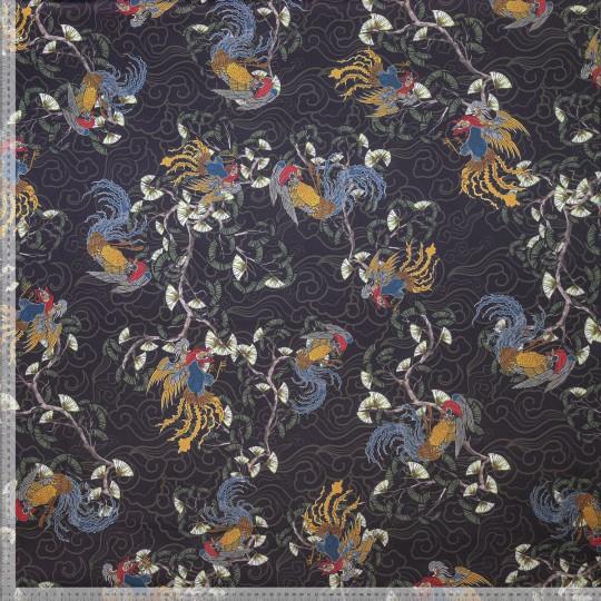 Kimonotyg Satin - Svart botten