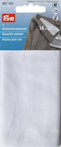 Säkerhetsficka med blixtlås 14 x 20 cm