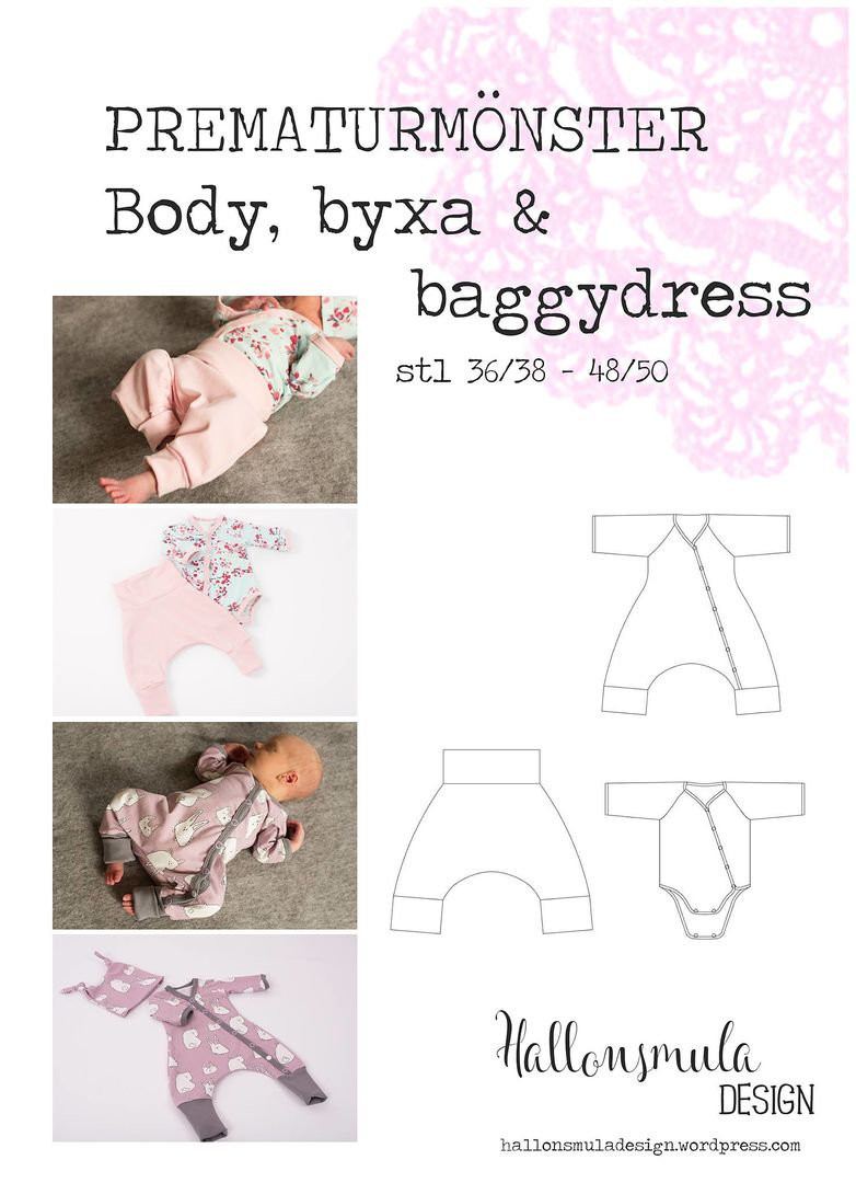 Prematurmönster - Body, byxa & baggydress