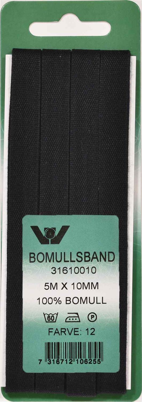 Bomullsband 10 mm 5m Svart