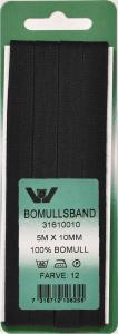 Bomullsband 10 mm 5m Svart