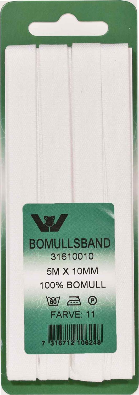 Bomullsband 10 mm 5m Vit