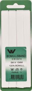 Bomullsband 10 mm 5m Vit