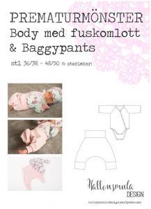 Prematurmönster Body med fuskomlott & baggydress