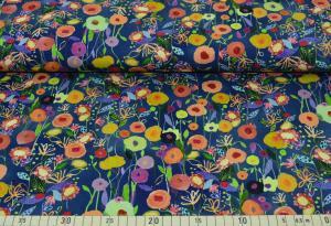 Färgglada blommor på blå botten