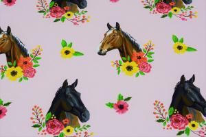 Hästar på rosa botten
