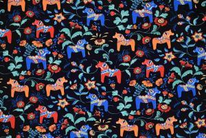 Dalahästar i många färger med svart botten