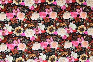 Rosa blommor på svart botten