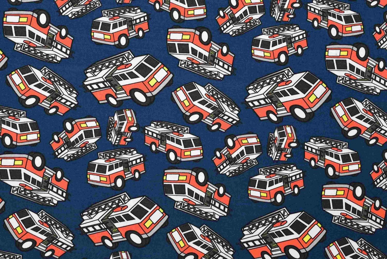 Brandbilar på blå botten
