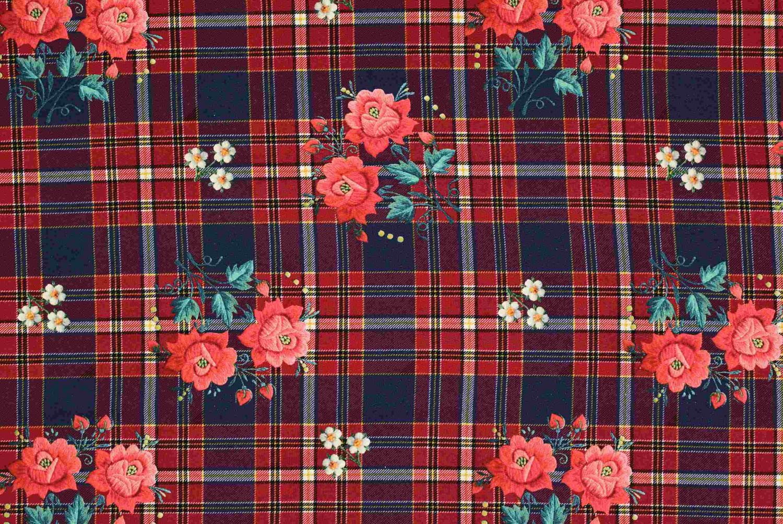 Röda rutmönstrade blommor
