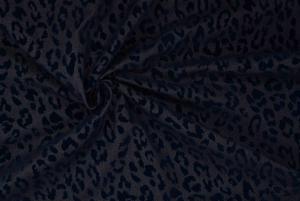 Jeanstyg Leopard Sammet - Marinblå