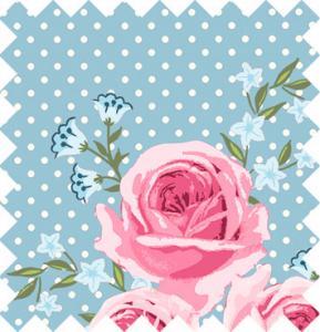 Rosor på blå botten med vit prick