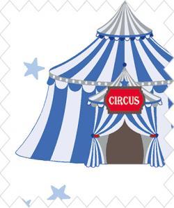 Cirkus på bit botten med blått