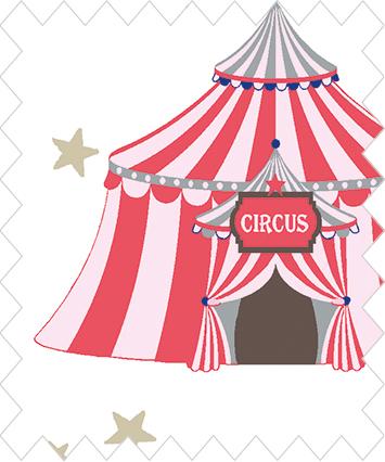 Cirkus på vit botten med rosa