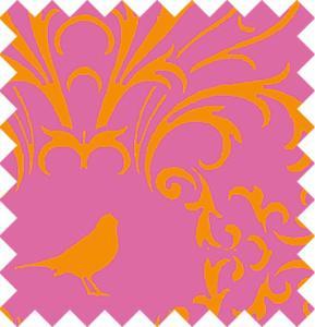 Orangea fåglar på rosa botten