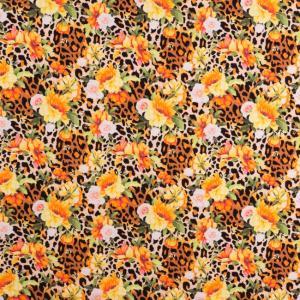 Leopard med blommor. Ochrefärgad botten