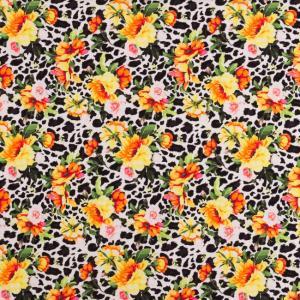 Leopard med blommor. Vit botten