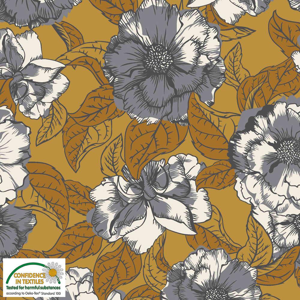 Blommor på senapsgulbotten