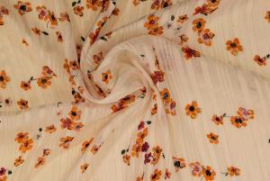 Blommig chiffong med metallränder