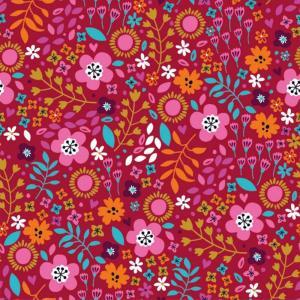 Blommigt med röd botten