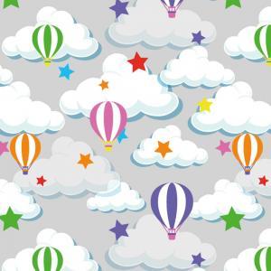 Balonger med moln på grå botten