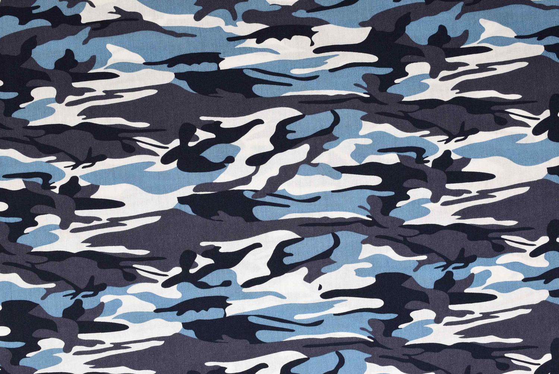 Vävd bomull Camouflage - Blå