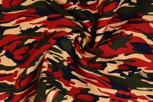 Vävd bomull Camouflage - Röd