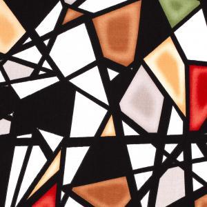 Vävd viskosstretch - Abstrakt - Röd, orange, grön