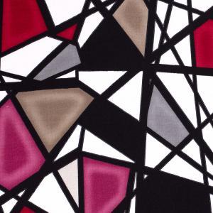 Vävd viskosstretch - Abstrakt - Rosa, grå, beige, röd