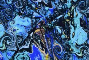 Olikfärgade blå mönster
