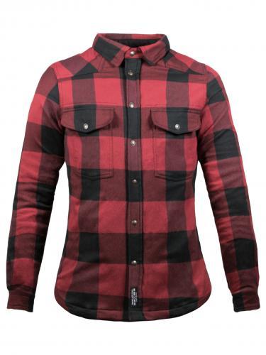 John Doe Dam MOTO-kevlarskjorta, Svart/Röd