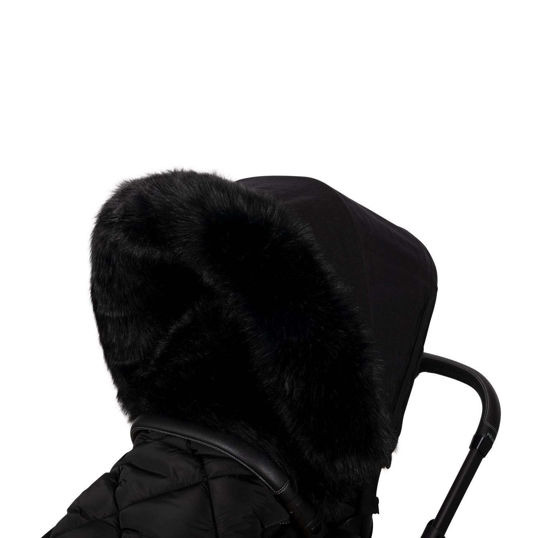 Fur collar for stroller Black L