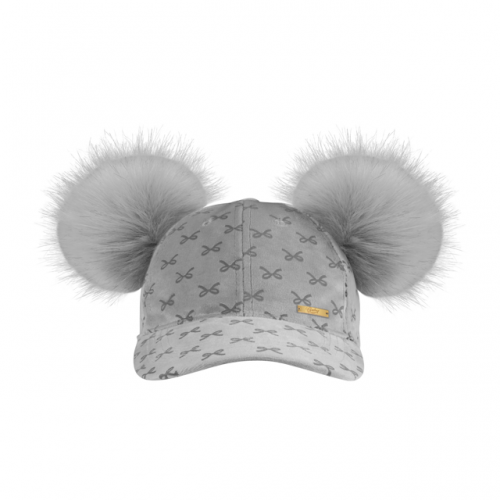 Velvet Cap Grey Bow