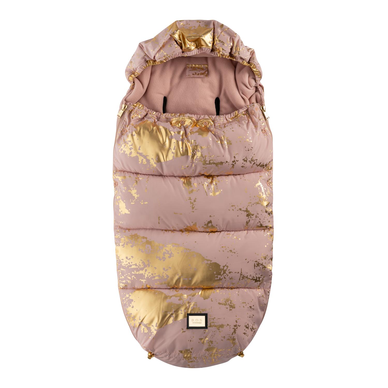 Åkpåse i rosa och guld för den där lyxiga känslan i barnvagnen
