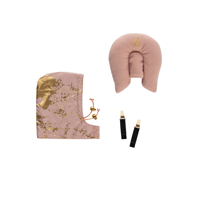 Rosa kudde och luva till åkpåse. Klämmor för att använda åkpåse som överdrag till bärsele.