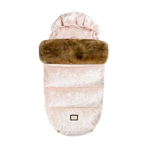 Åkpåse i Rosa sammet från Bjällra of Sweden. Pälskant i fuskpäls och avtagbar kudde. Passar vår, sommar och vinter.