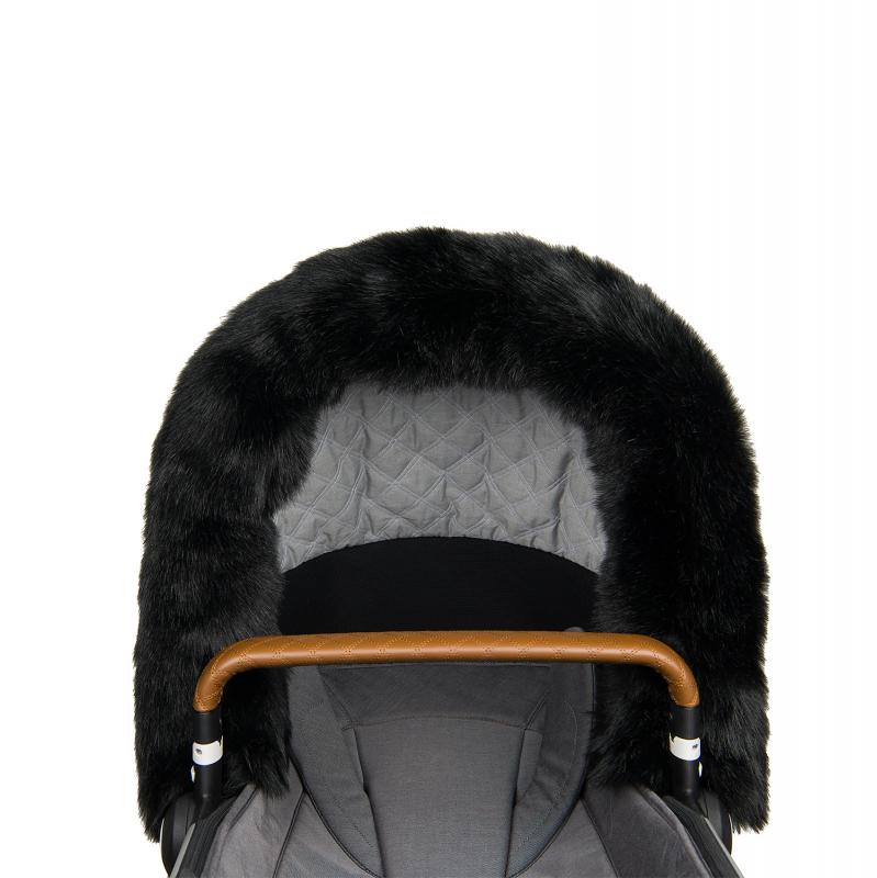 Fur collar for stroller, Black