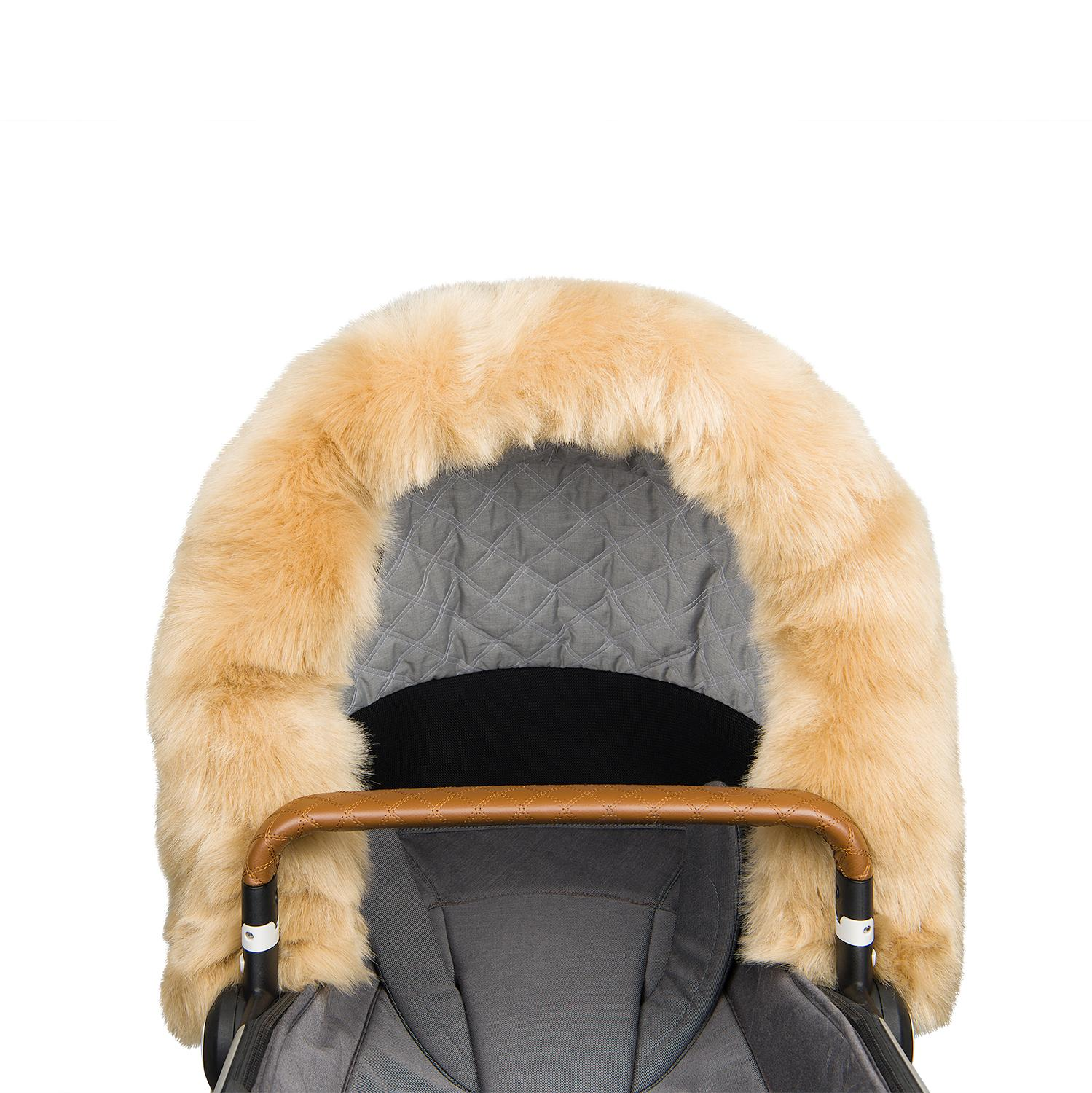 Faux fur collar for stroller, Beige
